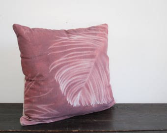 One of a Kind Modern Sepia and Cream Hand Dyed Norfolk Pine Sunprint Canvas and Wool Throw Pillow