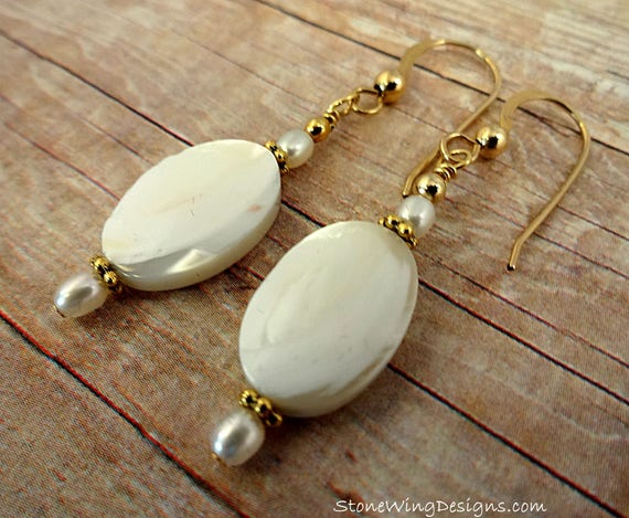 Mother of Pearl Gemstone Earrings