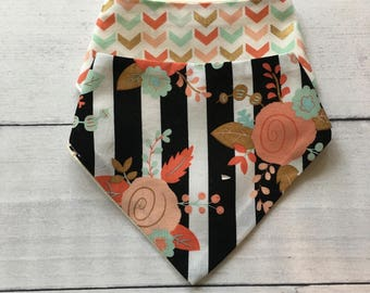 FREE US SHIPPING Bandana Bibs (set of 2) Striped Floral and Chevron in Metallic Gold + coral + mint +black and white + blush pink