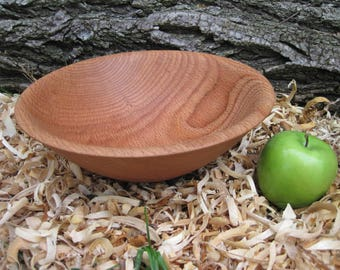 """Red Oak wood bowl large 10"""" diameter wood bowl textured rim rustic wood bowl Hand Turned Bowl Natural Bark edge bowl wood art"""