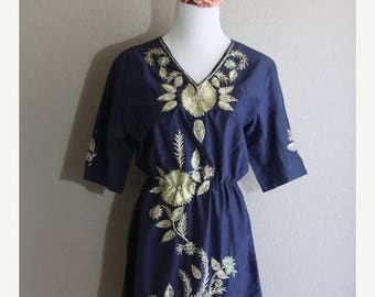 SALE navy dress with floral sequin embroidery- handmade- casual and party perfect- sale