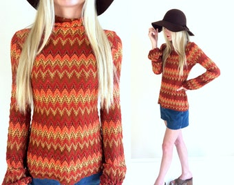 vtg 70s zig zag AUTUMN orange, red TURTLENECK TOP Small/medium poet sleeve skinny fitted shirt blouse fall tones