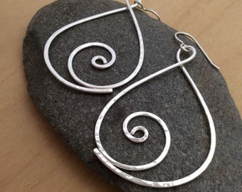 Large Argentium Silver Hammered Spiral Earrings