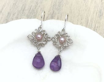 Amethyst and Pearl Earrings, Sterling Silver
