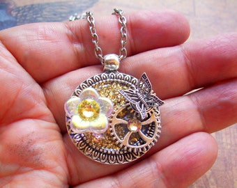 Steampunk Necklace (N711) Gold Sparkle Base Pendant, Glass Flower Bead and Swarovski Crystals, Silver Gears and Butterfly, Chain