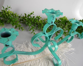 Vintage Candelabra - Wrought Iron - patio garden art - Mantel Art - 5 arm candle holder - refinished in Turquoise Green - one of a kind