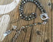 Labradorite Y Necklace, Artisan Floral Clasp, Artisan Pure Silver Components, Tree of Life, Cross, Pup Paw