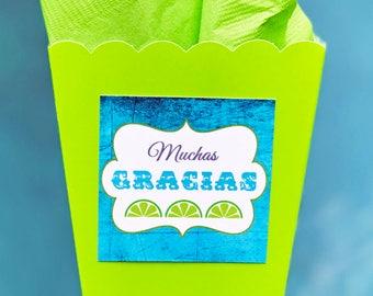 Fiesta Muchas Gracias Favor Tags Printable - Instant Download - Margarita Blue Collection