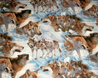 Wolf Fabric, Quilting Fabric, By The Yard Fabric, David Textiles, Wild Wings Collection , Sewing Fabric, Nature Fabric, Novelty Fabric