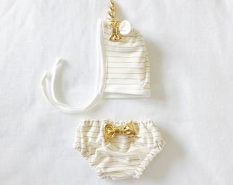 Unicorn Bonnet and Bloomers Set