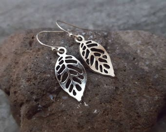 Skeleton Leaf Earrings, Silver Leaf Earrings, Leaf Jewelry, Silver Plated or Sterling Silver Earwire, Gift for her, Nature Inspired Jewelry