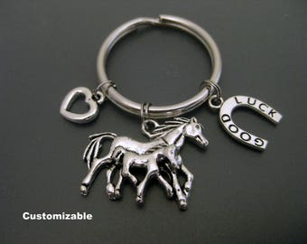 Horse Keychain / Horse Key Ring / Mare and Foal Keychain / Horseshoe Keychain / Horse Lover / Animal Lover / Mother and Daughter /