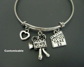 Movie Bracelet / Movie Making Bangle / Camera Charm Bangle  / Clapperboard Bangle  / Director Bangle / Theatre /Adjustable Charm Bracelet
