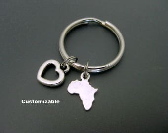 Africa Keychain / Africa Key Ring /  Travel Keychain / Customizable Keychain / Small Keychain / Gift For Africa Lover / Zipper Pull