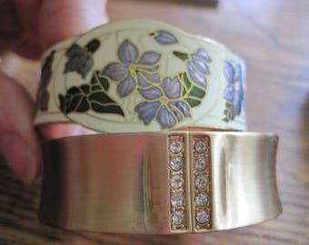 2 Vintage RETRO Hinged Gold Tone Bangle Bracelets one Enamel Purple Flowers Asian Design one Rhinestones