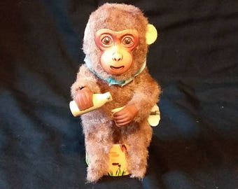 Vintage Japan Wind Up Mechanical Milk Drinking Monkey Toy