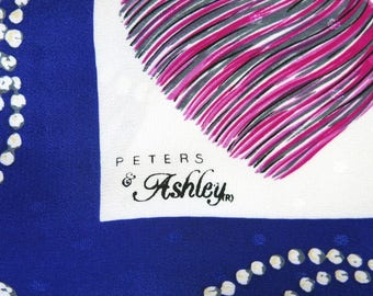 Signed Scarf Peters & Ashley Tassel Jewel Hermes-Like Design Royal Blue White Gold 34 by 34 Inches 931b