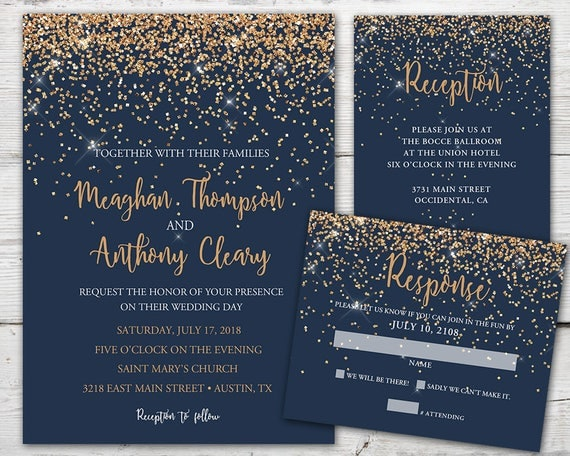 navy wedding invitations navy and copper wedding invitation set with invitation 6135