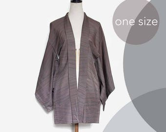 Vintage Silk Haori Jacket. Dark chocolate brown  gown, authentic kimono jacket. one size XS/S/M