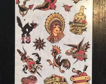 Sailor Jerry Tattoo Flash Sticker Set 1 with Swallow, Lucky, Anchor, Indian Girl and more