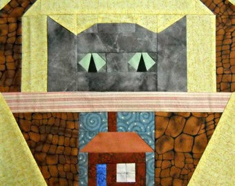 House Cat Paper Pieced Quilt Block Pattern