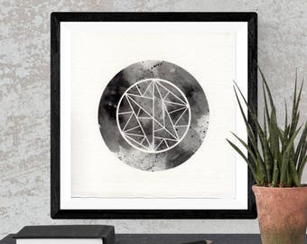 Original Watercolor Grey Geometric Circle Glyph Sacred Geometry Space Painting Moon Star Galaxy Art OOAK