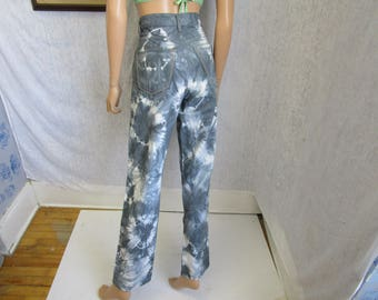 "80s 32"" x 32"" Manager Buttonfly Tie Dye Denim Jeans Pants Gray White"
