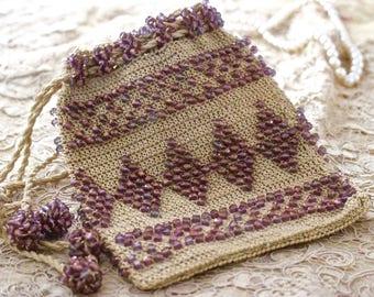 Vintage Crochet Beaded Purse