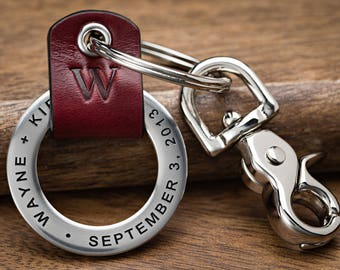Personalized Keychain, Third anniversary, Custom key chain, 3rd anniversary, Perfect for Him or Her, Hand Crafted in USA