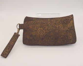 Paisley Clutch, Black Evening Bag, Little Black Bag, Elegant Black & Gold Purse, Dressy Wristlet, Black Clutch, Gifts for Her