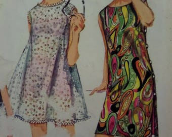 BEACH SHIFT DRESS Pattern • Simplicity 6548 • Miss 14 • Side Button Dress • Beach Cover • Sewing Pattern • Vintage Pattern • WhiletheCatNaps