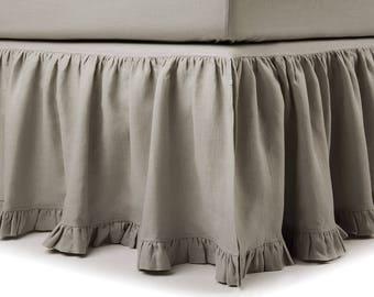 Linen bedskirt Queen, 16 colors, Linen bed skirt with ruffle, Linen bed valance Queen, Linen dust ruffle Queen