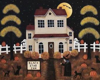 Folk Art Halloween Note Card, Black Star Inn, Witch, Black Cats, Spooky Saltbox house