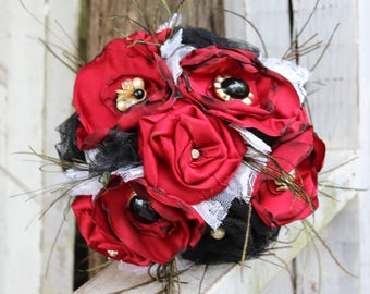 Red and Black Fabric Bouquet, Satin Bridal Bouquet, fabric flowers, feathers, vintage jewels, lace, western saloon wedding, steampunk, black