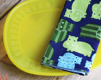 Small Sized Napkins - Hippos - Reversible Small Sized Napkin