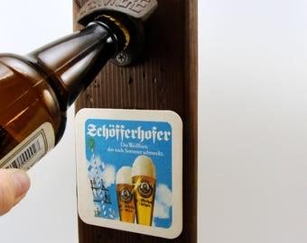 wall mount bottle opener cast iron distressed cedar beer coaster