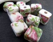 10 Small Wild Rose Floral Glazed Square Flat Clay Beads