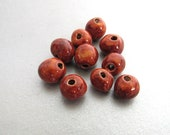 10 Small Metallic Copper Glazed Clay Beads