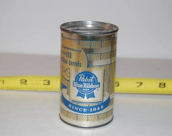 Pabst Blue Ribbon Over 100 Million Barrels Can Coin Bank Barrel Style Metal Coin Bank