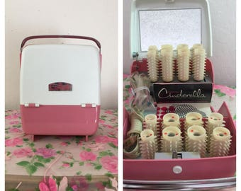 1960's Fabulous Pretty Pink Cinderella Portable Electric Roller Kit By Rayette ~ Looks To Have Never Been Used