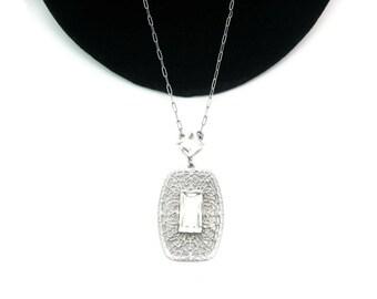 Art Deco Necklace. Crystal Lavalier Pendant, Rhodium Filigree. Matinee Length. Late Edwardian. Vintage 1920's Art Deco Jewelry