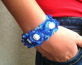 Royal Blue bracelet Blue jewelry Seed bead jewelry Beaded cuff bracelet Birthday gift Handmade bracelet, Freeform beadwork, Gift for women