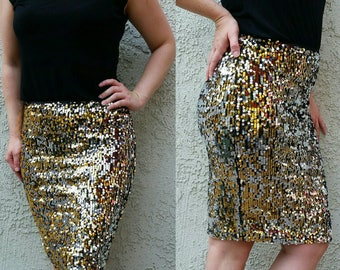 Silver/Gold/Black Sequin Pencil Skirt - Mini skirt, full sequins (S, M, L, XL) Super beautiful in person bright and glam
