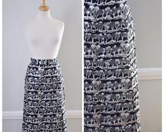 ON SALE 60s Silver and Black Lame Maxi Skirt