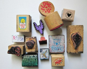 DESTASH- 13pcs MIXED THEME Wood Rubber Stamps, Pre-used