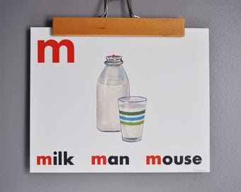 Mid-Century Flash Card Poster - MILK