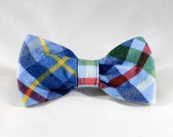 Classic Blue and Green Plaid Flannel Dog Bow Tie