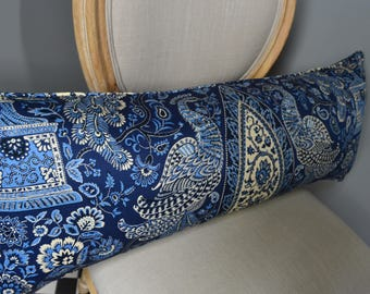 Large Lumbar Pillow Cover in an Absolutely Beautiful Deep Blue Vibrant Transferware Style Print