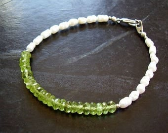 Green Fairy - Genuine Peridot & Pearl Bracelet, August June Birthstone, Gifts For Her, Boho Chic, Gypsy Style, Festival Fashion, Beach Style