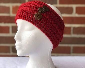 Candy Apple Red Ear Warmer, headband, head wrap, earmuff, Coconut Buttons